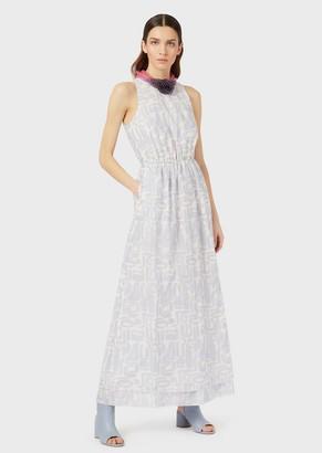 Emporio Armani Printed-Muslin Long Dress