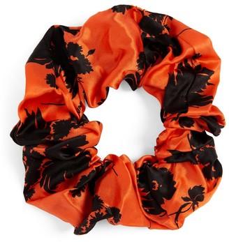 Ganni Silk-Rich Floral Scrunchie
