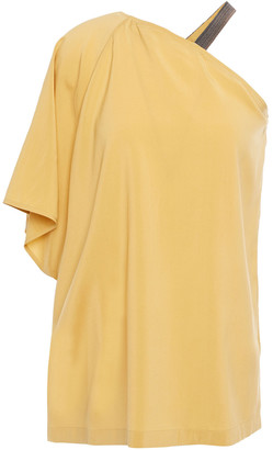 Brunello Cucinelli One-sleeve Bead-embellished Stretch-silk Crepe De Chine Top
