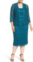 Alex Evenings Plus Size Women's Lace Dress & Jacket