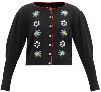 Shrimps Mira Floral-embroidered Wool-blend Cardigan - Black Multi