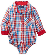 Andy & Evan Shirtzie Check Bodysuit (Baby Boys)
