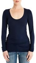 Michael Stars Women's Shirred Long Sleeve Tee