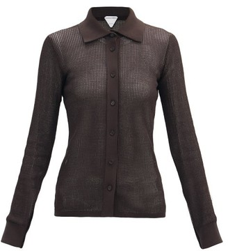 Bottega Veneta Point-collar Open-knit Top - Dark Brown
