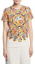 Tory Burch Keaton Psychedelic-Geometric Logo T-Shirt