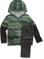 Calvin Klein Jeans Set, Little Boys Printed Stripe Hoodie and Denim Set