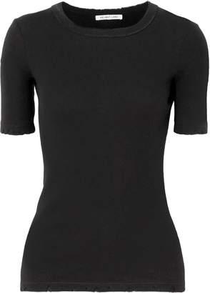 Helmut Lang Distressed Ribbed Cotton T-shirt