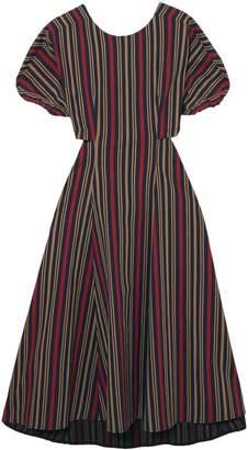 Tome Open-back Striped Cotton-blend Midi Dress