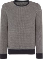 Peter Werth Men's Orton Dogtooth Knitted Long Sleeved Cotton Crew N