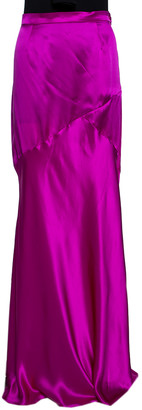 Roberto Cavalli Fuschia Pink Satin Silk Flared Maxi Skirt L