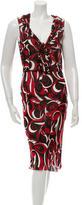 Miu Miu Sleeveless Floral Print Midi Dress