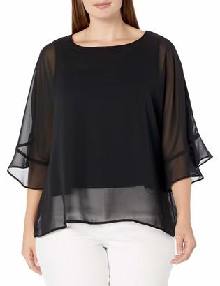 Nine West Women's Plus Size Short Jewel Neck Chiffon Blouse with Flounce Sleeve Detail