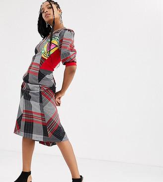 DB Berdan bias cut multi check dress with reflective asymmetric zip
