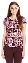 Tahari by Arthur S. Levine Women's Missy Printed Ity Ruched Short Sleeve Top