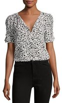 Joie Amone V-Neck Silk Top, Black/White