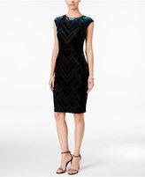 Vince Camuto Geo-Flocked Velvet Sheath Dress