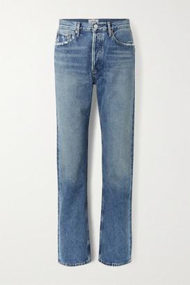 AGOLDE Net Sustain Lana Distressed Organic Low-rise Straight-leg Jeans - Mid denim