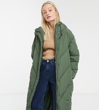 Monki hooded midi puffer coat in khaki-Green