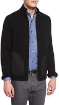 Ermenegildo Zegna Seed-Stitch Chunky Knit Zip-Up Cardigan, Black