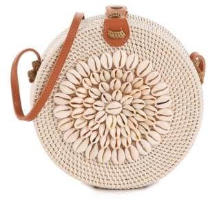 Crown Vintage Shell Rattan Crossbody Bag