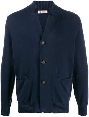 Brunello Cucinelli Buttoned High-Collar Cardigan