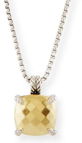 David Yurman 14mm Châtelaine 18K Gold Dome Pendant Necklace with Diamonds