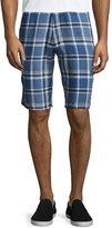 Neiman Marcus Linen Plaid Shorts, Navy