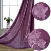 Purple Floral Curtains Velvet Embossing Drapes - Anady Top 2 Panel Luxurious Purple Flowers Curtains for Living Room Grommet 96 inch Lenght(Customized Available)