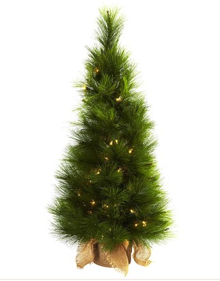 "Nearly Natural 36"" Christmas Tree with Burlap Bag & Clear Lights"