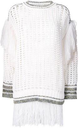 Sonia Rykiel large knit sweater with fringes