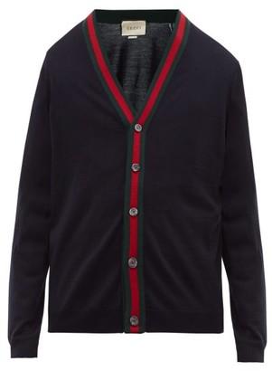 Gucci Web Stripe Wool Knit Cardigan - Mens - Navy
