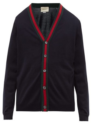 Gucci Web Stripe Wool-knit Cardigan - Navy