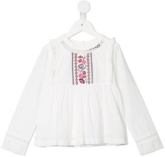 Velveteen Jade embroidered blouse