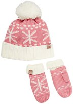 Peppercorn Kids Snowflake Pompom Beanie and Mitten Set (Baby) - Rose - Small