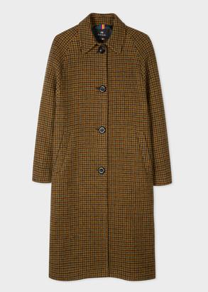 Paul Smith Women's Brown Houndstooth Wool Coat