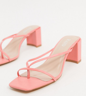 Raid Wide Fit Freddy square toe strappy sandals in coral