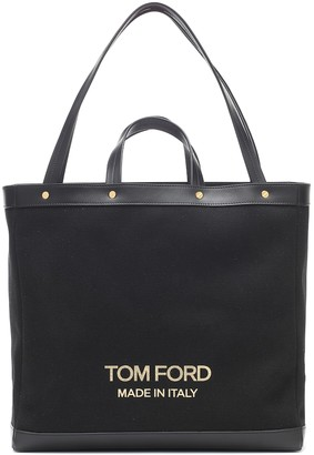 Tom Ford Logo canvas and leather shopper