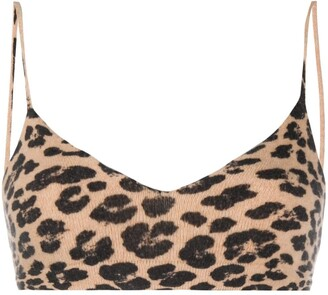 Laneus Animal-Print Knitted Tank Top
