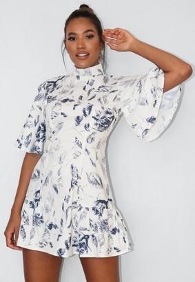 Missguided White Printed High Neck Flutter Sleeve Skater Dress