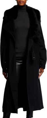 Mr & Mrs Italy Double-Breasted Trench Coat w/ Removable Shearling Scarf