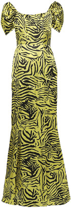 De La Vali Alma Off-the-shoulder Tiger-print Silk-satin Maxi Dress