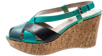 Salvatore Ferragamo Tricolor Lizard Leather Cross Strap Cork Wedge Sandals Size 41