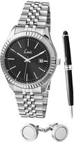 Limit Limit Black Dial Stainless Steel Bracelet Watch, Pen & Cufflink Mens Gift Set