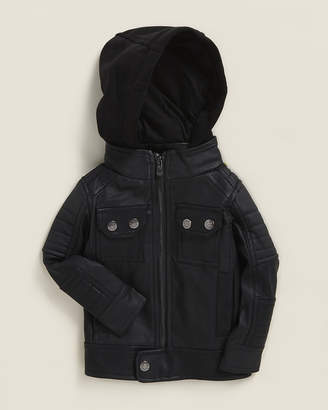 Urban Republic Infant Boys) Black Textured Faux Leather Moto Jacket