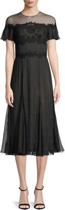 Tadashi Shoji Aditya Crinkle Chiffon Midi Dress