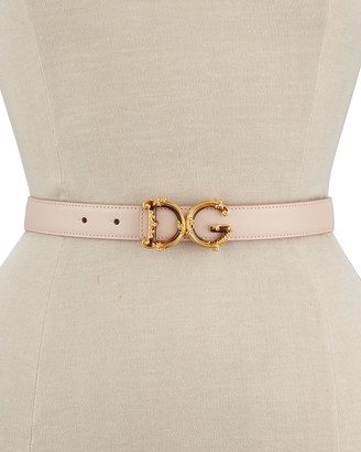 Dolce & Gabbana Baroque Logo Leather Belt