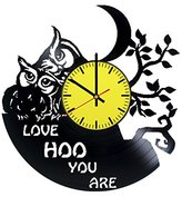 Night Owl Love Vinyl Record Wall Clock - Get unique bedroom or kids room wall decor - Gift ideas for children – Animals Unique Modern Art