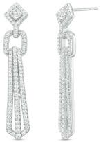 Zales 1 CT. T.W. Diamond Geometric Drop Earrings in 10K White Gold