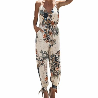 Sunday77 Playsuits Women Playsuit Sale Summer Jumpsuits Beach Playsuits Sunday77 Plus Size Floral V-Neck Vest Hole Wide Leg Loose High Waist Party Beige