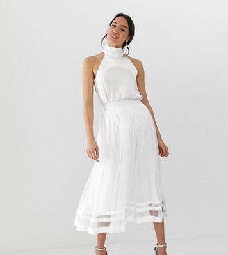 Little Mistress Tall tulle midi skirt-White